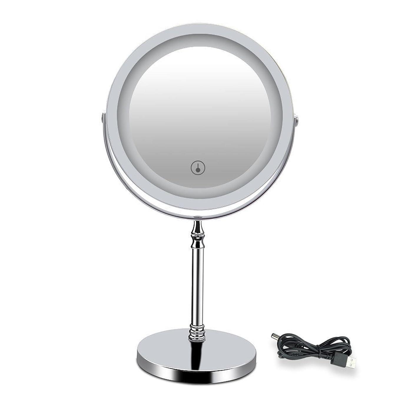 眼ナビゲーション決定的LED付きミラー 両面型 化粧鏡 卓上鏡 メイク 女優ミラー 三色調光 明るさ調節可 真実の北欧風卓上鏡DX 10倍拡大率 360度回転 USB給電/充電 タッチスイッチ付き 収納 ホワイト 1個入り