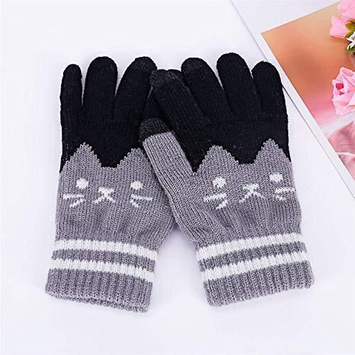 Women Winter Gloves,Guantes De Invierno De Punto Gris Lindo Gato Guantes De...