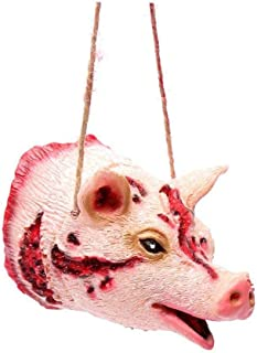 Halloween Horror Props Fake Bloody Pig Head Shape Pendant Necklace For Ghost House Wall Hanging Decor