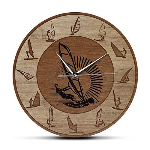 Reloj de Pared Windsurf Reloj de Pared Wind Surfer Deporte Extremo Arte Hombre Cueva Decoración del hogar Reloj silencioso sin tictac Reloj de Pared Regalo de windsurfista