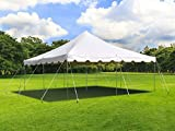 TentandTable 20-Foot by 20-Foot Heavy Duty 14-Ounce Vinyl White Canopy Pole Tent Set with Storage Bag for Weddings, Parties, and Events