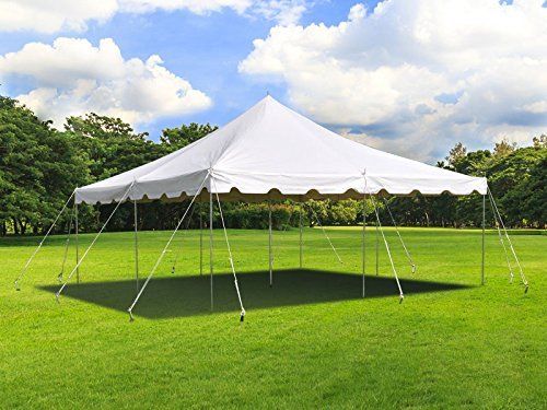 Tent and Table 20 Foot x 20 Foot Weekender Canopy Pole Tent | White | Indoor and Outdoor | 33-80 Person Capacity | for Parties, Weddings, and Events | Commercial and Residential Use