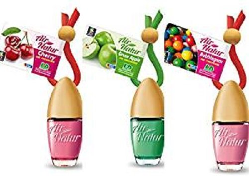 3 stijlvolle modieuze Air Natuur Little Bottle geurflekjes luchtverfrissers auto en kamer geur 6ml - 1 x Apple - Appel, 1 x Cherry - kers, 1 x Bubble Gum - kauwgom