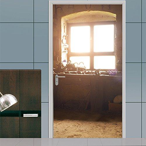 3D deur sticker oude ramen kunst Pvc waterdicht afneembare 77X200 cm DIY zelfklevende muur stickers voor thuis slaapkamer achtergrond muur decor