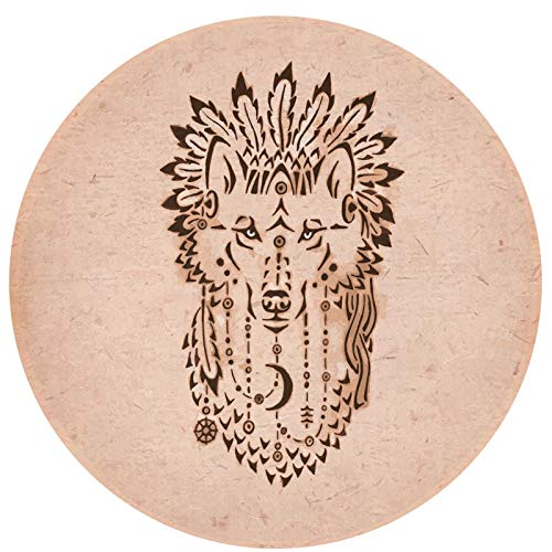 Tapis rond 60 cm en microfibre antidérapant lavable style dessin ethnique animal en bonnet tribal inspiré des amérindiens doux et robuste tapis de yoga salon chambre à coucher