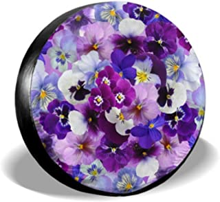 ENEVOTX Graphic Pansy Easter Spring Flowers Rear Tire Protector Outdoor Tire Tote Tire Cover Waterproof Uv Sun 14 - 17 Fit for Jeep Trailer Rv SUV and Many Vehicle