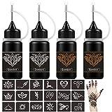 Comdoit Temporary Tattoo Kit Semi Permanent Tattoo Jagua Gel Black Brown Tattoos Fake Freckles Kits Freehand Ink 18 Pcs Tattoo Stencils DIY Temp Tattoos for Women Kids Men Body Markers (4 Bottles)