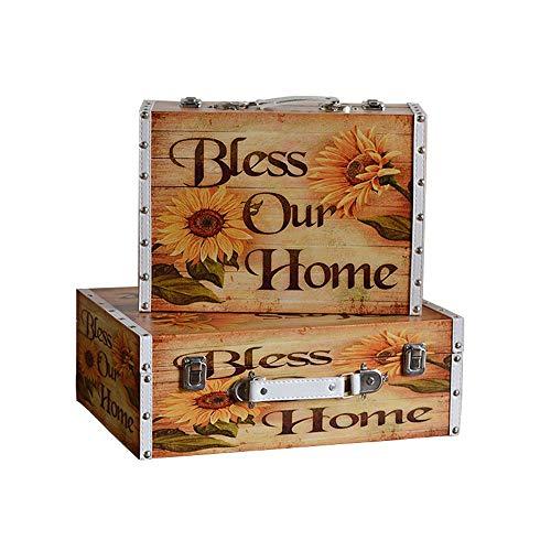 Maleta de Almacenamiento de Moda Set de 2 cajas de almacenaje de la vendimia decorativa maleta de madera maleta marrón Escaparate de Accesorios de Fotografía ( Color : Marrón , Size : Large+small )