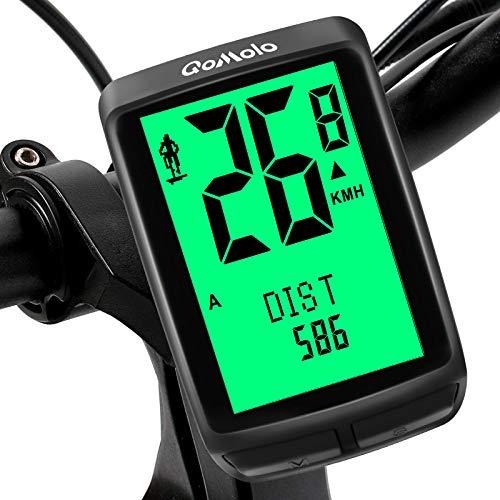 Qomolo Fahrradcomputer, 20 Multifunktion Drahtloser Wasserdichter Tachometer Kilometerzähler 2 Fahrrad A/B Daten Wählbar LCD Hintergrundbeleuchtung 5 Sprache für Tracking Radsport Radgeschwindigkeit