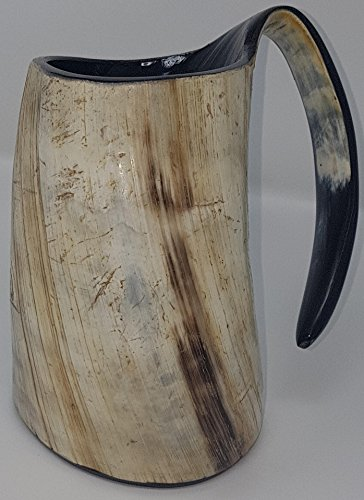 Sixth Sense Bull Horn Mug Handcrafted XL 6 Inch Game of Thrones style Drinking Viking Tankard 20 oz