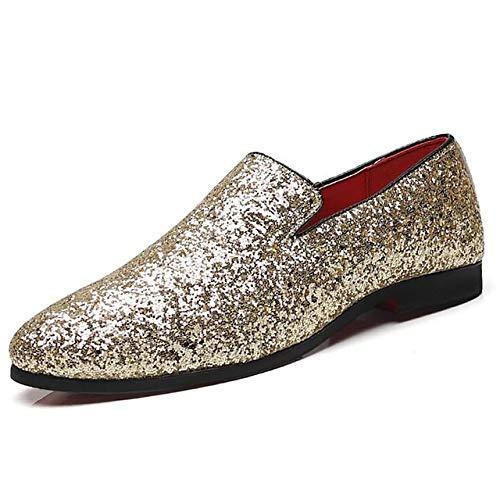 Zhang Herren Mokassin Sommer/Herbst britischen Hochzeit Beiläufiges Party & Evening Loafers & BelegONS Glitter/Sekt Glitter/Office & Karriere Schwarz/Gold/Silber,Gold,45