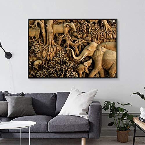 ganlanshu 3D Elefant Leinwand Bild Wandmalerei Bild Wohnzimmer Retro Tier Kunst Poster und druckt Moderne Wohnkultur rahmenlose Malerei 20cmX30cm