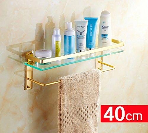 Badezimmer-Regal-europäisches Gold Badezimmer-Regal-Glas-Regal Badezimmer-Glas-Regal mit Handtuchstange an der Wand befestigten Podium (Color : 40CM)