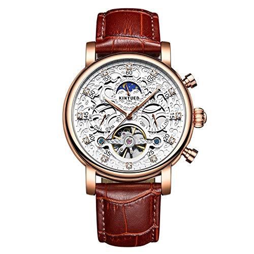 Smartwatches,KINYUED Vollautomatische Modische Leder Uhr Mit Ausgehöhlter Mechanischer Mechanik White Rose Shell Brown Belt