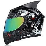 Casco Moto Modular Casco Integral Oreja de Gato con Doble Visera Integral Scooter ECE Homologado para Adultos con Protección Rayos UVMujer Hombre Adultos Casco,Gray b,L 58~59cm