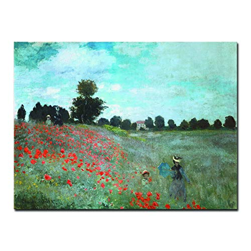 Wieco Art The Poppy Field Near Argenteuil Giclee Canvas Prints Wall Art of Claude