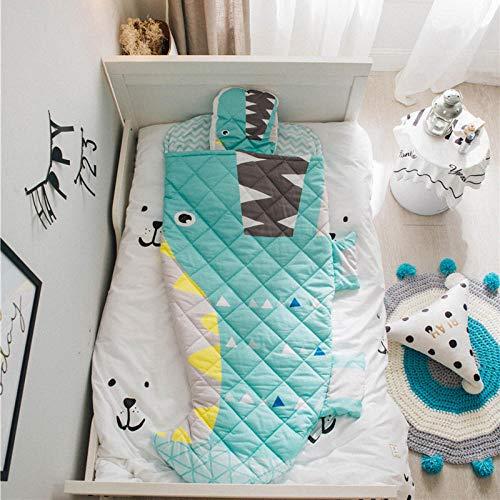 FLHLH Organic Cotton Swaddles, Schlafsack für Kinder mit Haifisch, Umschlag aus Baumwolle mit Trittschutz, maschinenwaschbar, 70X150, D, Wickeldecke für Babys