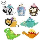 Pirottini per cupcake a forma di animale, con dinosauro, zebra, leone, elefante e scimmia, per feste di compleanno per bambini (48 pezzi)