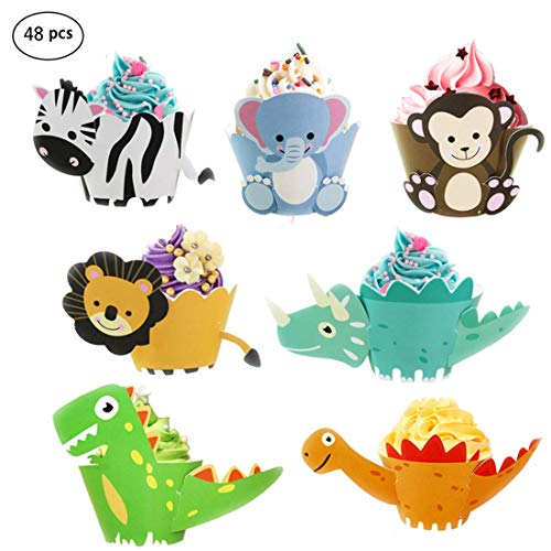 48 Stück Animal Cupcake Wrapper, Cupcake Dekorationen einschließlich Zebra, Löwe, Elefant, Affe und Dinosaurier Cupcake Inhaber, Party Supplies für Kindergeburtstagsfeier