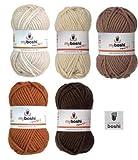 Mix-Sortiment myboshi Braun 5x50g (elfenbein 192, beige 171, ocker 172, karamell 173, kakao 174) + 1 myboshi Label