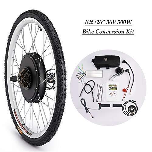 Sfeomi Elektrisches Fahrrad-Umbausatz 26 Zoll 36V 500W E-Bike Conversion Kit Elektro-Fahrrad Kit Ebike Elektrofahrrad Umbausatz Bürstenlose Motornabe Vorderrad (Vorderrad)