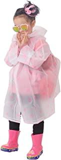 BhuoRZy Children's Raincoat, One-Piece Poncho Cloak, EVA Children's Transparent Hooded One-Piece Long Breathable Raincoat,...