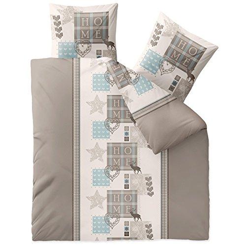 CelinaTex Touchme Bettwäsche 200 x 200 cm 3teilig Baumwolle Bettbezug Biber Skadi Home beige braun blau