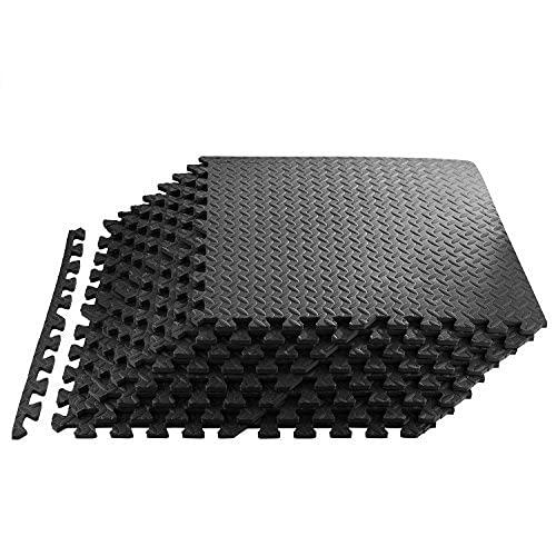 Homgrace Tapis de Protection de Sol en Mousse EVA Tapis Mousse de Sol Tapis de Gym Matelas Puzzle Ensemble Individuelles connectables 600cm x 600cm (16pcs, Noir)