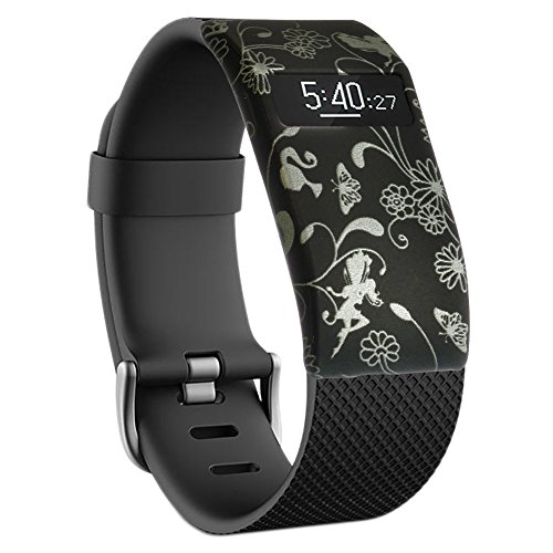 Vendedor inglés! Funda para Fitbit Charge y Charge HR. Pulsera no incluida., SILVER FLOWERS