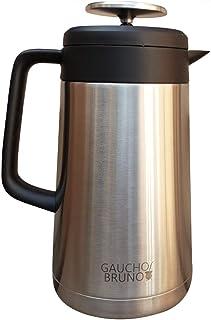 Gaucho Bruno - Fransk press vakuumflaska | 1 liter kapacitet | Rostfritt stål | med svart silikon trim | hållbar | perfekt...