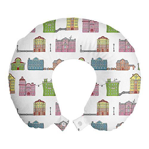 ABAKUHAUS Amsterdam Reiskussen, Kleurrijke Urban Gebouwen, Reisaccessoire met Geheugenschuim voor Vliegtuig en Auto, 30 cm x 30 cm, Lime Green Multicolor