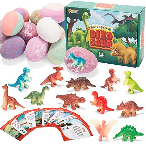 Bath Bombs for Kids with Dinosaur Toys 12 Pack Bubble Bath Bombs with Surprise Toy Inside Natural Essential Oil SPA Bath Fizzies Set Kids Safe Birthday Gift Set for Boys and Girls