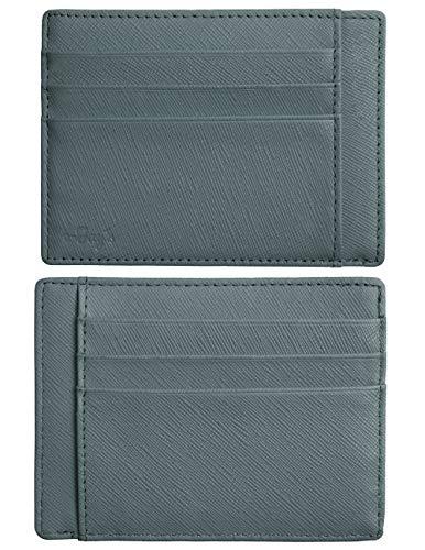RFID Blocking Credit Card Holder Genuine Leather - Slim & Thin 8 Card Slots RFID Credit Card Holder for Men and Women - Minimalist Front Pocket Wallet Design Protect All Credit, ID Cards (Light Blue)