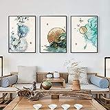 Cuadro de arte de pared Póster de paisaje de estilo chino Flores Árboles y campanillas Impresiones Sala de estar Decoración del hogar Cuadro de arte de pared 3x40x60cm Sin marco