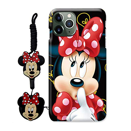 MME Cartoon Case for iPhone 11 - Mouse Case Cute 3D Character Case Soft TPU with Phone Stand Holder and Neck Strap Lanyard for Girls (Red,iPhone 11)