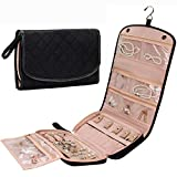 Travel Jewelry Organizer Roll with Zipper Pockets Large Hanging Jewelry Roll Bag Case for ...