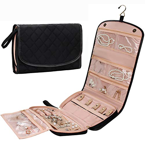 Travel Jewelry Organizer Roll with Zipper Pockets Large Hanging Jewelry Roll Bag Case for Rings, Earrings, Necklaces, Bracelets, Brooches, Waterpoof Bag with Separate Compartments (Large, Black)