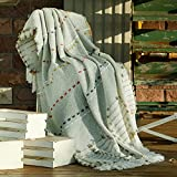 Amélie Home Boho Knitted Throw Blankets-Tassel Striped Decorative Throw-Farmhouse Textured Cozy Soft Blanket for Couch and Bed,Sage Green,50' x 60'