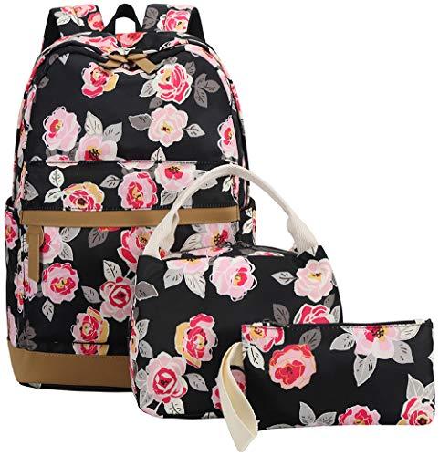BLUBOON Teens Backpack Set Girls Women School Bags Bookbags 3 in 1 (Black-0019)