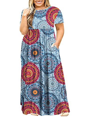 POSESHE Women's Plus Size Tunic Swing T-Shirt Dress Long Sleeve Maxi Dress with Pockets (2X-Large, Blueprint)