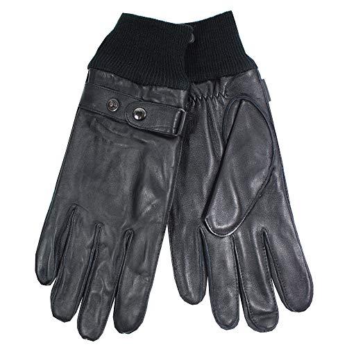 Joop! Herren Lederhandschuhe mit Strickbündchen und Strickfutter, Black, M