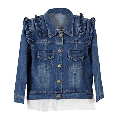 LSERVER LSERVER schöne Kinder Jeans Jacke Mädchen Mantel mit Randverzierung,104