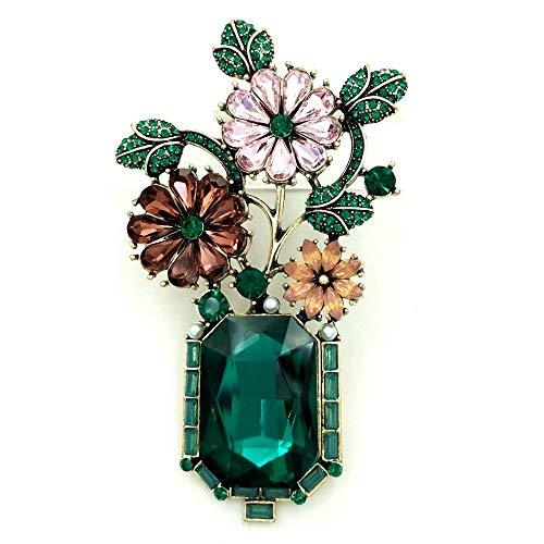 Broche de flores de color verde vintage con diamantes de imitación de flores de bonsái broche verde florero pin-verde, China