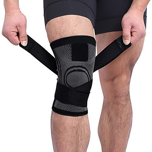 AUDICK Kniebandage, Compression Knieschoner Knieschützer mit Rutschfestem, Verstellbarem Gurt für Meniskusriss, Schmerzlinderung - Kniestütze für das Wandern Laufen Basketball Volleyball