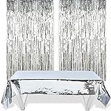 O-Kinee 2 Cortinas Flecos Plata y 1 Funda de Papel de Aluminio de Plata Mantel Metálico (1m x 2,7m) para Mesas, Bodas, Fiestas de Novia, Compromisos, Baby Shower, Fondo de Fotos de Navidad