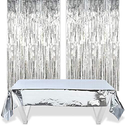 Silber Glitzer Vorhang Deko Vorhänge 2 Stück + Decorative Tischdecke 1m*2.7m Silber, Lametta Vorhang für Hochzeit Geburtstag Bühne Party Decor