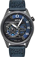 Men's Hawker Harrier Ace of Spades Automatic Midnight Navy with Blue Genuine Leather Strap Watch 45mm - AV-4070-02