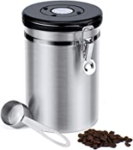Glotoch Airtight Coffee Canisters-Stainless Steel Coffee Storage Container, Vault with Built-in CO2 Gas Vent Valve & Date Tracking Wheel &Scoop -Large(64floz), Holds 1.5lbs Whole Beans or 1.2lbs Groun