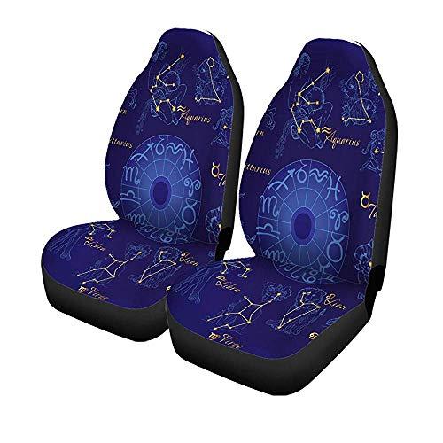 Beth-D set van 2 autostoelhoezen Blue Aquarius sterrenbeeld raam stier vissen Universal auto voorstoelen protector 14-17IN