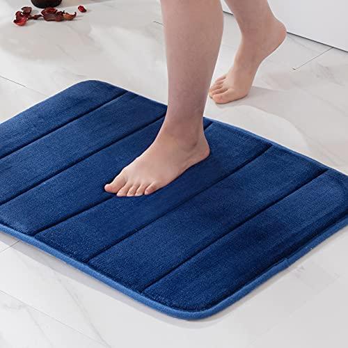 MIULEE 1 Pieza Alfombra de Baño Microfibra Antideslizante Alfombra Absorbente para Baño Dormitorio Pasillo Sala de Estar Cocina 40x60cm Azul Marino